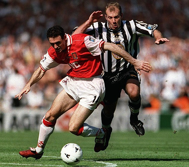 In Toon: Former Arsenal defender Martin Keown duels with Newcastle legend Alan Shearer in the 1998 Cup final