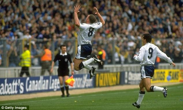 Making his mark: Paul Gascoigne celebrating his 35-yard free-kick against Arsenal in the 1991 semi-final