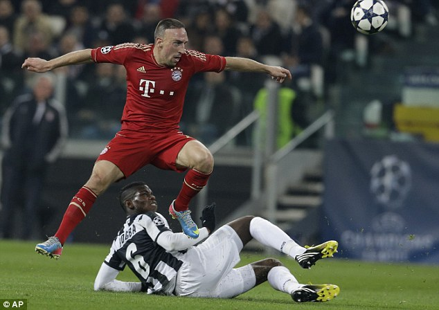 Quick-step: Franck Ribery leaps over Juventus midfielder Paul Pogba