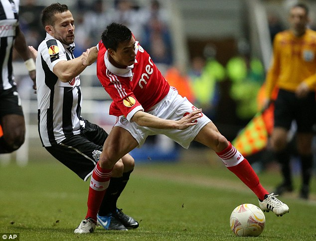 In demand: Nicolas Gaitan, seen here fighting for the ball with Yohan Cabaye, is in demand from a number of top clubs