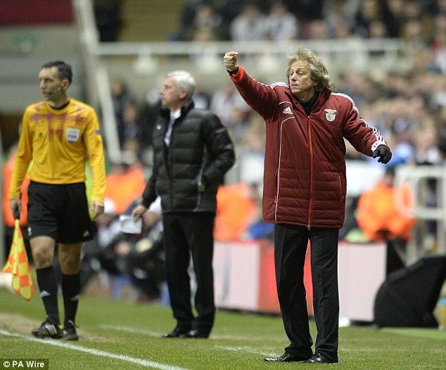 Conducting: The Benfica manager Jorge Jesus on the St James' Park touchline