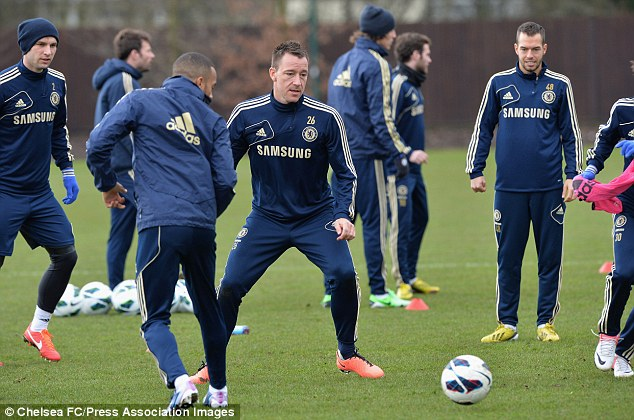 Speedy recovery: The Chelsea players were back in training on Friday morning
