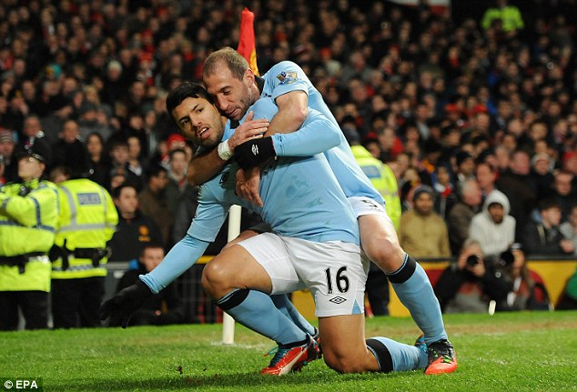 Important: Sergio Aguero scored the winner at Old Trafford in superb fashion