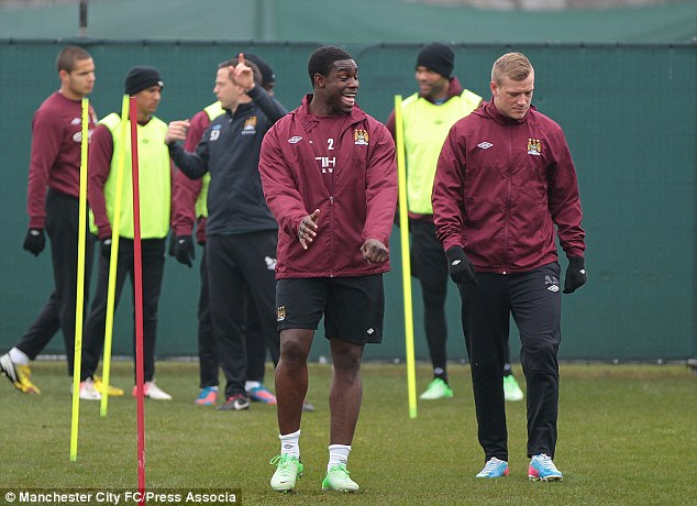 Manchester City's Micah Richards and John Guidetti (right) during training