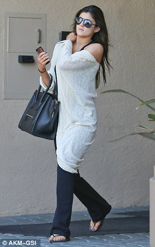 Homeward bound: Earlier in the day, Jenner was spotted departing her expecting sister's house, where she'd stopped to film scenes for Keeping Up with the Kardashians