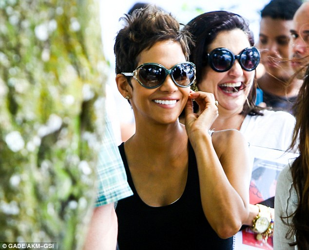 Super smile: The mom-to-be flashed a bright smile while taking a break from promoting her new film The Call
