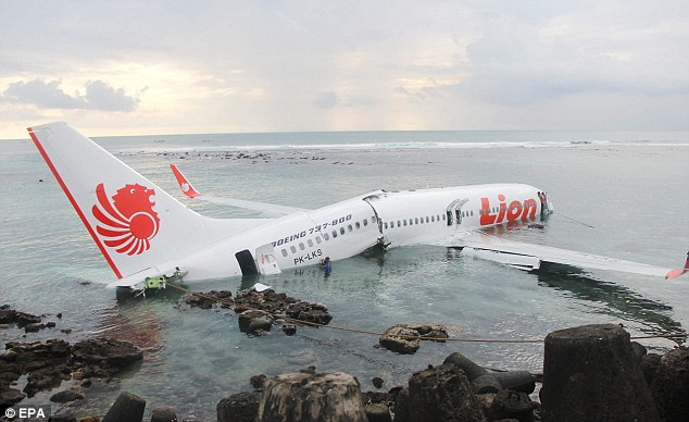 Fortunate: Luckily for those onboard the aircraft the plane landed in shallow water