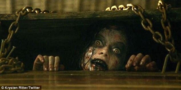 Eek! 'Saw Evil Dead. Getting ready for nightmares! #evildead #sogross #ilovescarymovies' Krysten tweeted