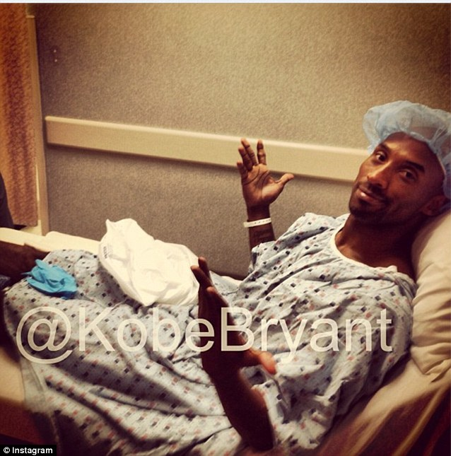 Surgery time: Kobe Bryant posted this picture to Instagram as he was prepped and ready to undergo surgery on his ruptured Achilles tendon