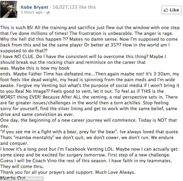 The star athlete showed a rare vulnerable side in his early morning Facebook rant following his devastating injury