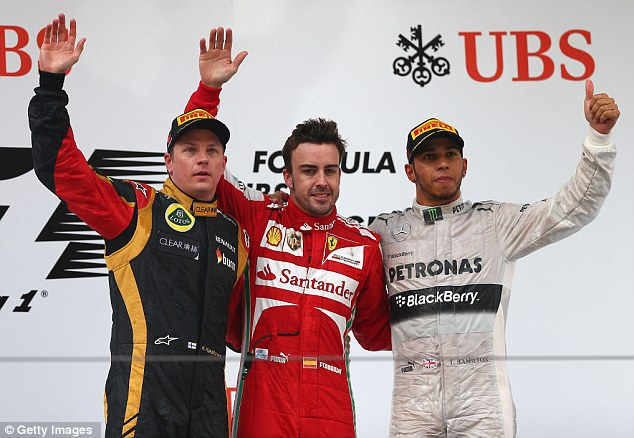 Third in line: The Mercedes driver finished behind Fernando Alonso and Kimi Raikkonen in Shanghai