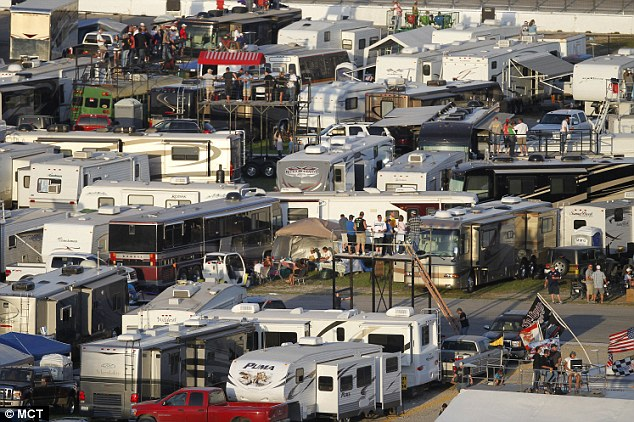 Dead: Kirk Franklin, 42, of Saginaw, died of a 'self-inflicted injury' following a heated argument in the infield of Texas Motor Speedway, pictured, on Saturday night