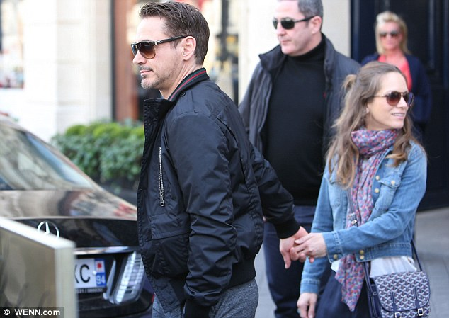 Family time: While not promoting the film the actor was seen dining out with his wife Susan