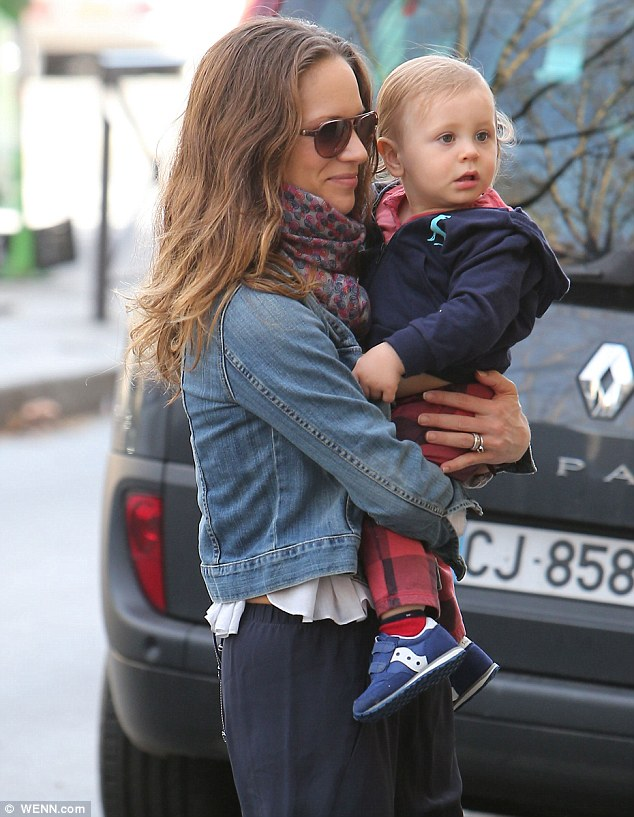 Baby came too: The couple's son  Exton also joined them during their Paris trip