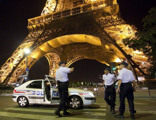 Police presence: Hundreds of extras officers have been deployed at monuments including the Eiffel Tower