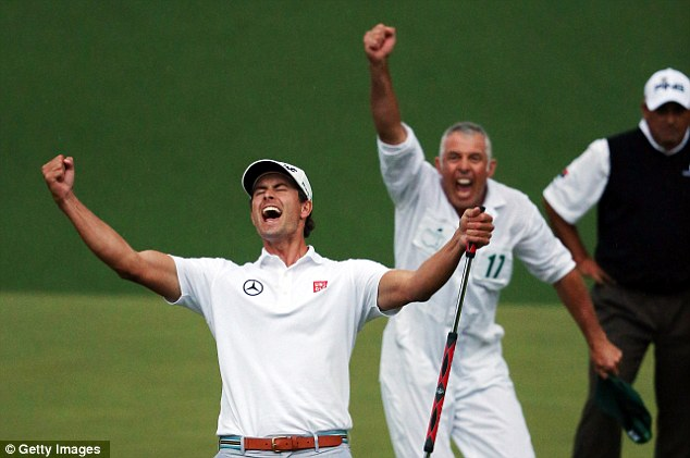 Worth the wait: Scott eventually sealed his victory on the second play-off hole, the 10th