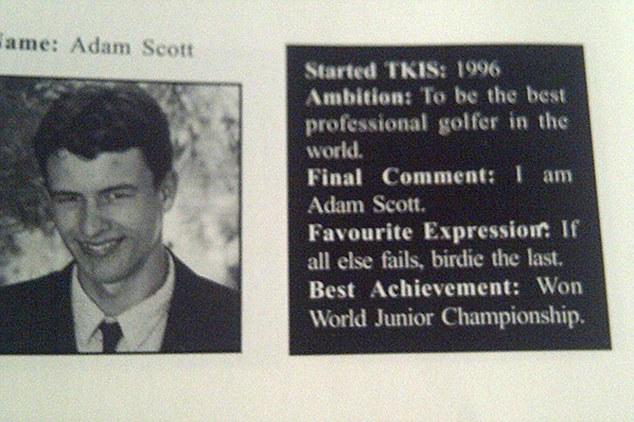 Adam Scott's high school yearbook