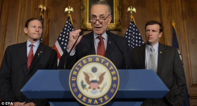New York Democratic Sen. Chuck Schumer (C) has introduced his own gun control bill which Gottlieb calls 'draconian