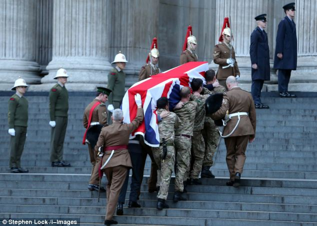 During today's rehearsal, the coffin is taken up the steps of St Paul's Cathedral at dawn