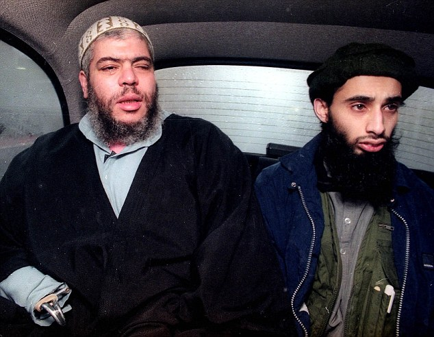 Ruling: Haroon Aswat (right), pictured with radical cleric Abu Hamza al Masri, has been told today he will not be extradited from Britain to the United States