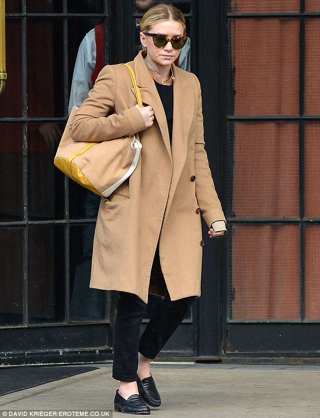 In brogue: Olsen wore a pair of snazzy loafers, they're right on trend