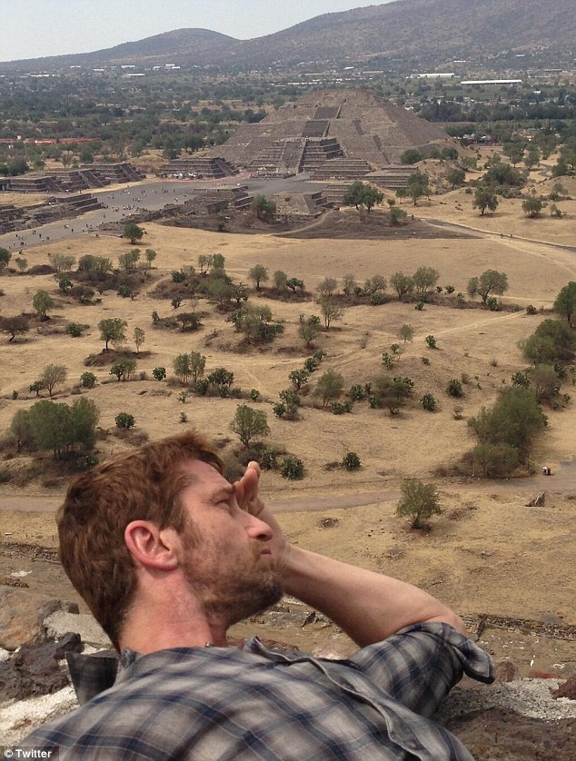 Pyramid climber: 'Spying the pyramids from pyramids- Teotihuacan, Mexico,' the 43-year-old actor tweeted on April 15 while taking a break from promo duties in Mexico