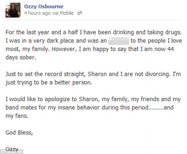 Going clean: Ozzy blamed drugs and alcohol for his insane behaviour and apologised to his family