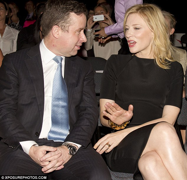 In the front row: Australian actress Cate Blanchett sat front row with Alan Joyce