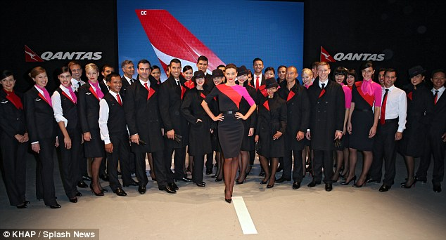 Me and my crew: Miranda also posed with several other Qantas crew members and models