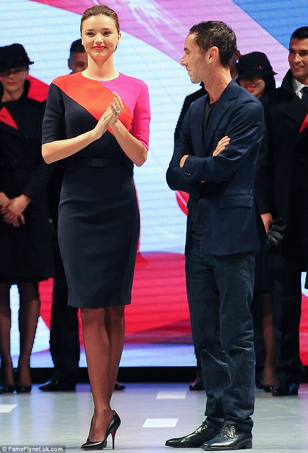 Aww, thanks: The fashion designer looked overwhelmed as Miranda and the team congratulated him