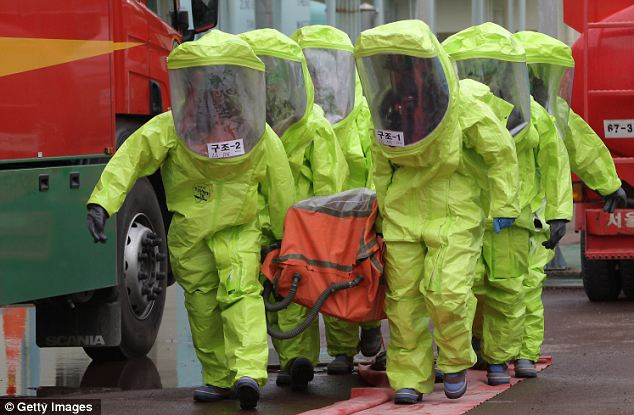Taking threats seriously: South Korean emergency service personnel wearing chemical protective clothing participate in an anti-chemical warfare exercise in Seoul earlier today, as war rhetoric was again stepped up