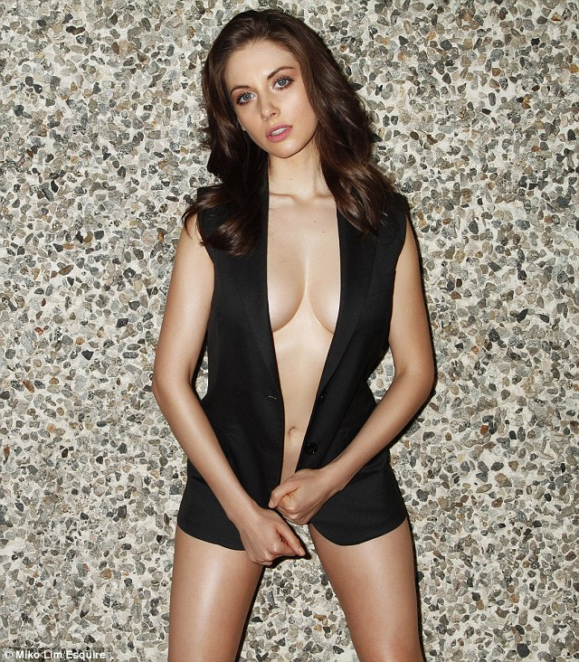 Trudy would be shocked! Mad Men star Alison Brie shows off her perfect figure in a daring pose for US Esquire's May edition