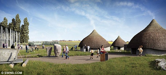 Bold: This shows a computer generated image of the outdoor gallery of the new Stonehenge visitor centre