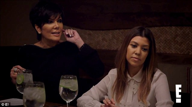 Strong words: Momager Kris Jenner and sister Kourtney were also at the hilarious dinner