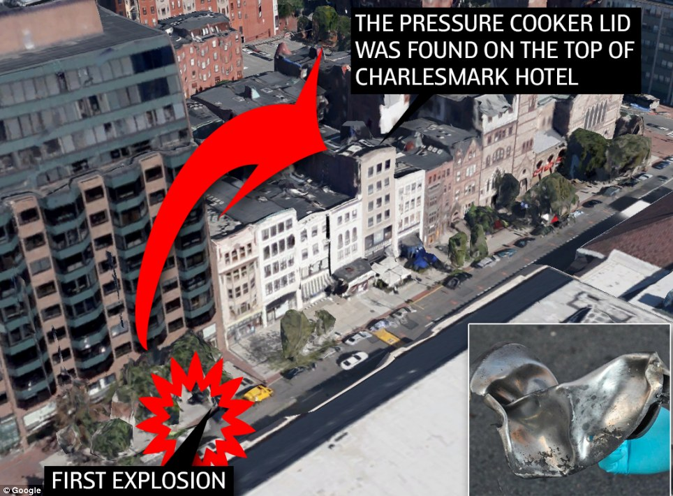 The pressure cooker lid was found on top of the Charlesmark Hotel which is 35 yards away from the explosion site - such was the force of the blast