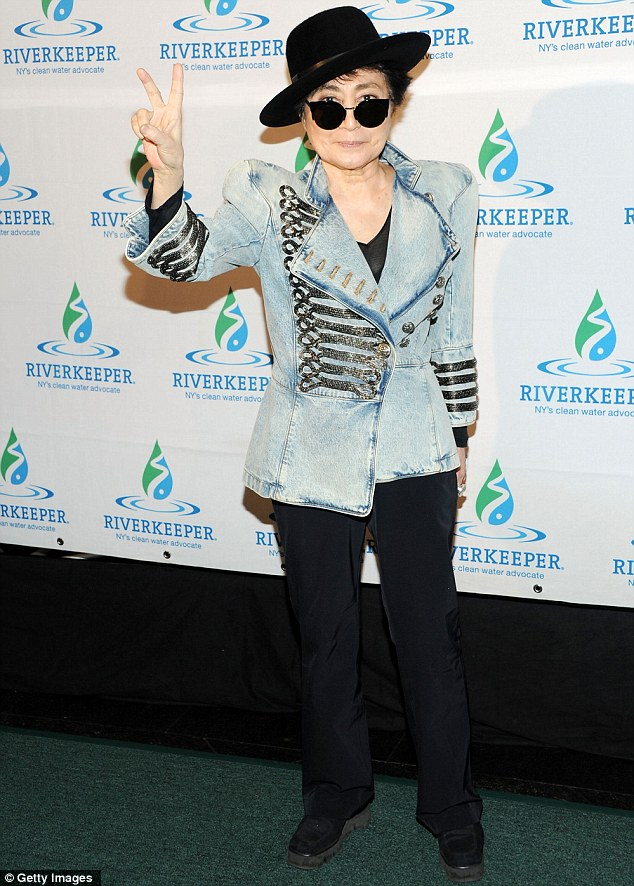 Icon: Yoko sported her trademark quirky style with a denim jacket and black fedora