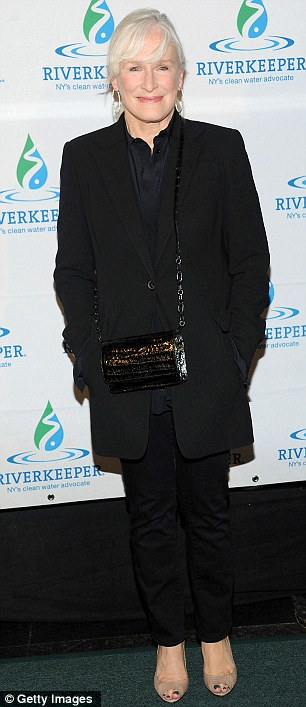 Elegant: Glenn Close entered the green carpet in an all-black ensemble with open toed pumps
