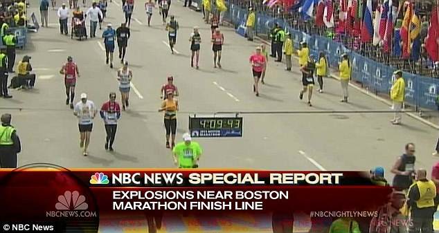 Four hours, nine minutes, 43 seconds: The timer clock reveals the moment the first bomb detonated near the finish line for the Boston Marathon