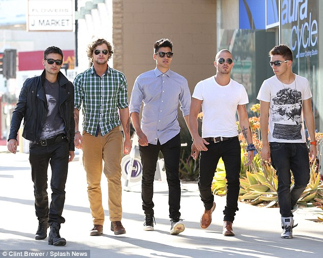 The Wanted's Max George, Nathan Sykes, Tom Parker, Jay McGuiness and Siva Kaneswaran seen filming their new video in Beverly Hills last week