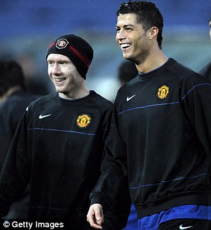 Old pals: Scholes with Ronaldo