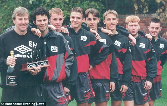 Glory boys: United youth coach with Ryan Giggs, Nicky Butt, David Beckham, Gary Neville, Phil Neville, Scholes and Terry Cooke