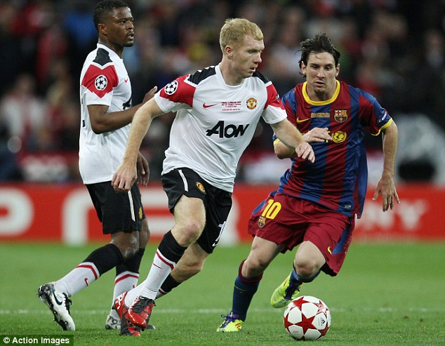 First farewell: Scholes' last game before his first retirement was the 2011 Champions League final