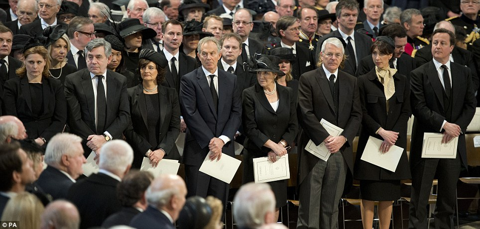 British leaders and their wives at the funeral of Baroness Thatcher today, from left, Sarah Brown, Gordon Brown, Cherie Blair, Tony Blair, Norma Major, John Major, Samantha Cameron and David Cameron