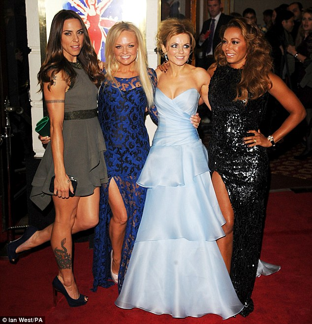Tension: Victoria chose to arrive separately to her former bandmates at the opening night of the Spice Girls musical