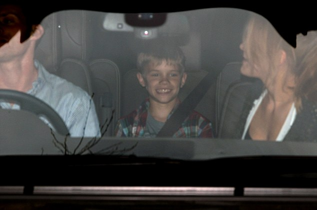 At least her children can raise a smile! Romeo Beckham looks like he has a great time as he leaves the Bluebird Cafe