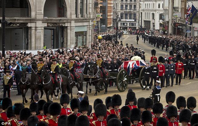 Ceremony: Crowds earlier lined the Central London streets as Lady Thatcher's coffin passed by