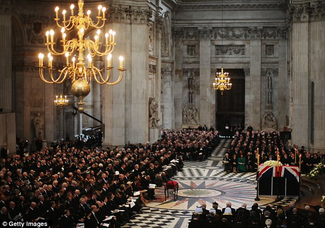 Service: 2,300 guests attended the funeral inside St Paul's Cathedral this morning
