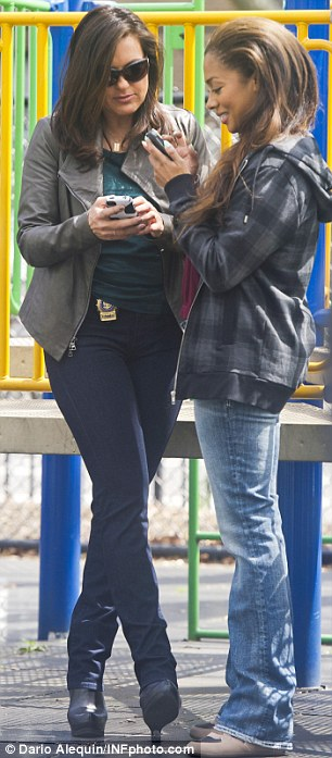 Buddy buddy: The former MTV host bonded with co-star Mariska Hargitay while they waited between takes