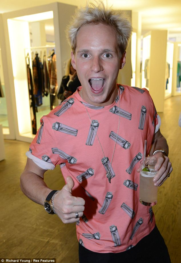 Having fun: Made In Chelsea star Jamie Laing looked like he was having a great time at the opening