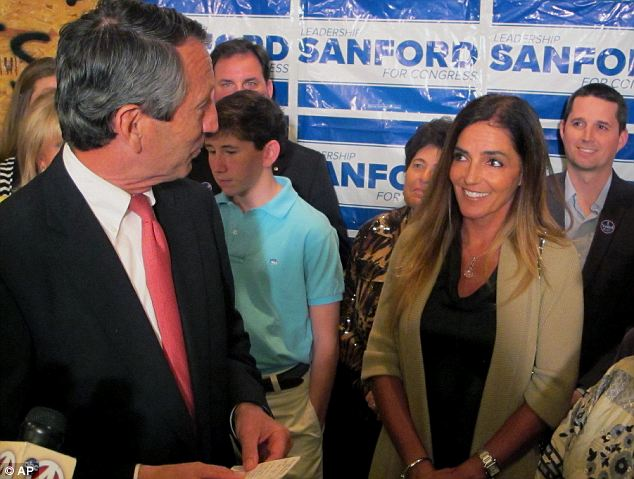 Awkward: Mark Sanford's son is visibly uncomfortable when he was standing next to his father's mistress-turned-fiancee Maria Belen Chapur, a woman he had met for the first time just moments before